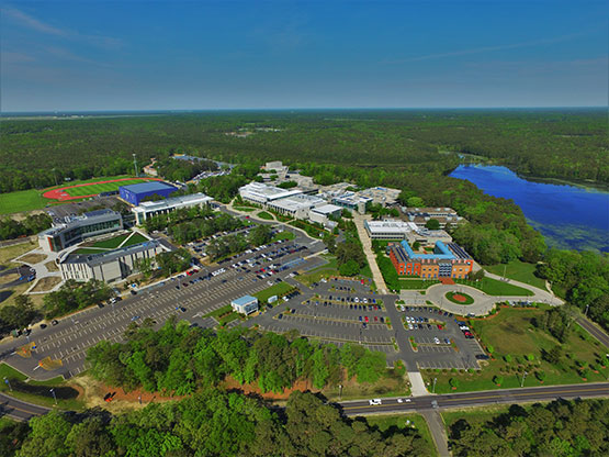 aerial view of Stockton's Galloway campus