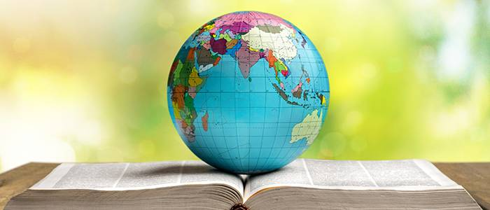 Globe and book symbolizing international education