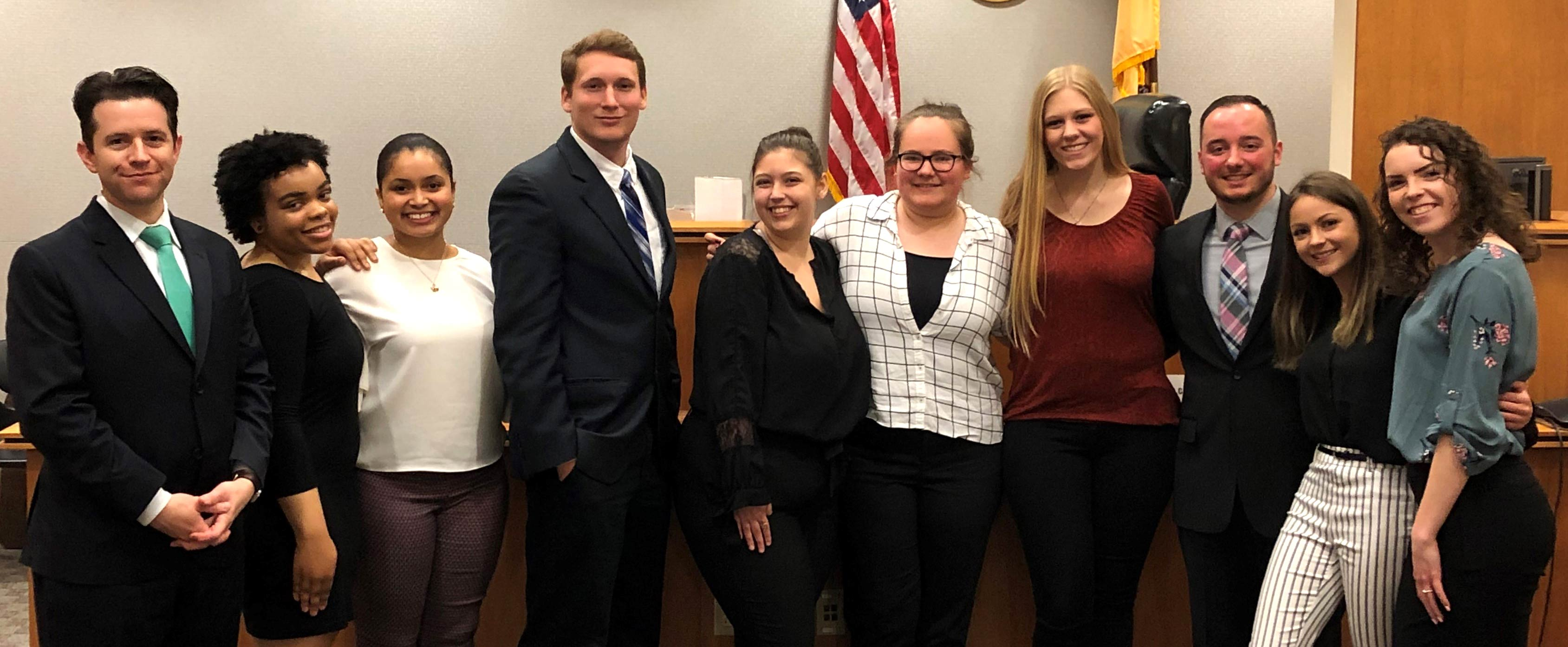 Trial Advocacy students and professor