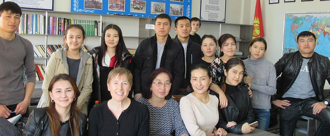 Kristin Jacobson with students at International University of Kyrgyzstan in Bishkek, Kyrgyzstan