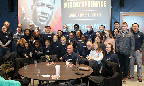 A group of volunteers at the MLK Day of Service