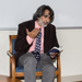 Akhil Reed Amar of Yale University reads from a pocket-sized U.S. Constitution while discussing the November 2016 election with Political Science students at Stockton on Sept. 21, 2016. Amar gave the keynote address for the annual Constitution Day event held later that evening.