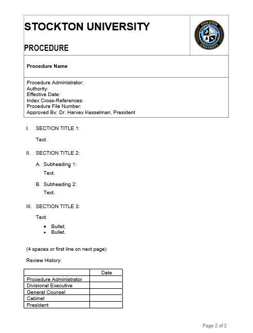 Image Of Procedure Template  Procedure Templates