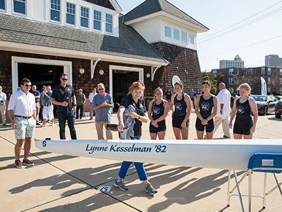 Lynne Kesselman christening the boat named after herself