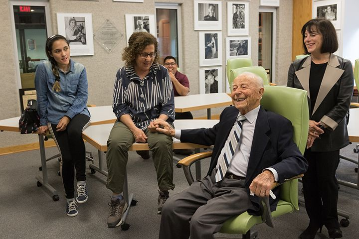Henry Slamovich, a Holocaust survivor, visits Stockton with his family and friends to see The Sara & Sam Schoffer Holocaust Resource Center and meet student Diana Sanchez-Zevallos, a recipient of the Bella Kurant Fox Slamovich Award.