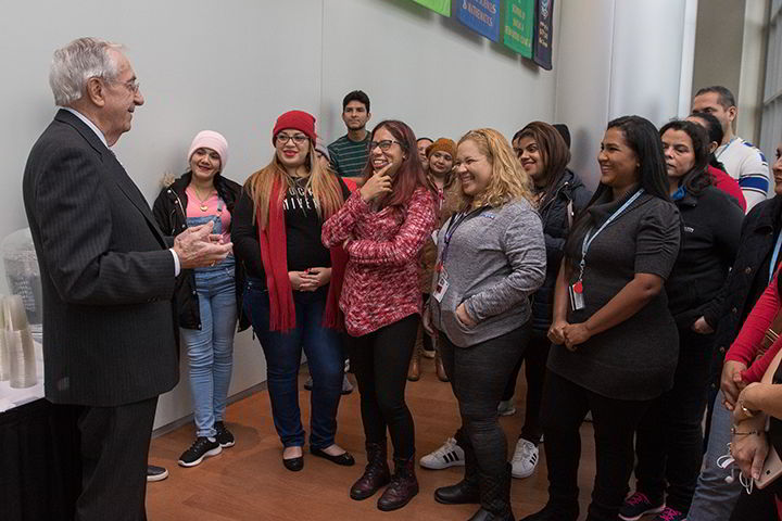Former Congressman and Ambassador to Panama William J. Hughes met teachers from Panama studying abroad at Stockton as part of the Panamanian government's initiative to train 10,000 teachers in English and education methodology.