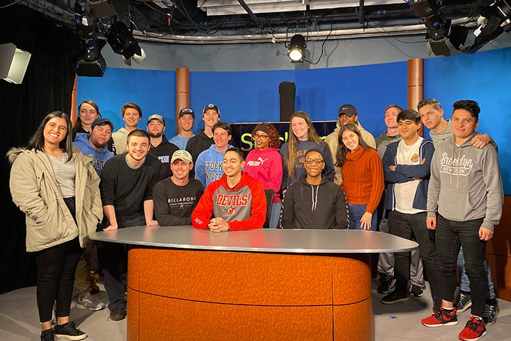 Students in the Stockton television studio